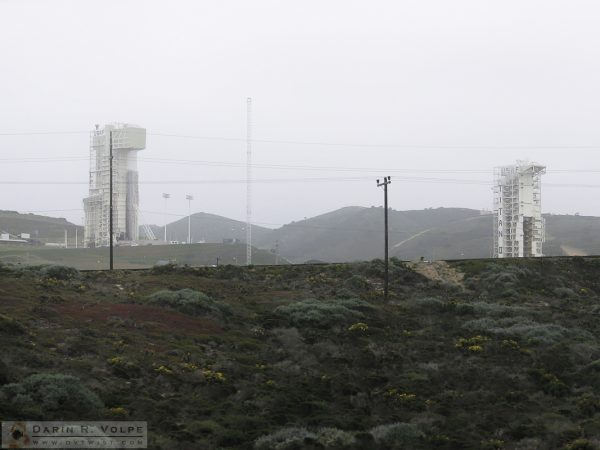 Launch towers at Vanderberg Air Force Base.