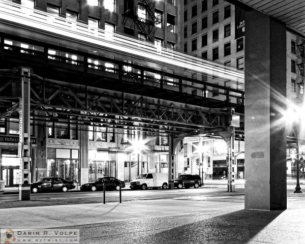 """In the Quiet of the Night"" [Chicago 'L' Train Over a Quiet Street in Chicago, Illinois]"