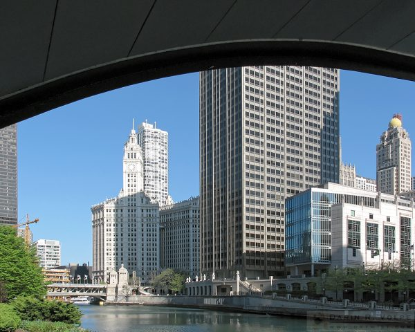 """Under North Columbus Drive"" [Buildings along the Chicago River in Chicago, Illinois]"