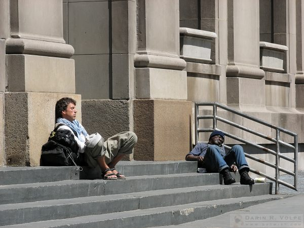 """Two Naps at Union Station"" [Two Men Sleeping on Steps in Chicago, Illinois]"