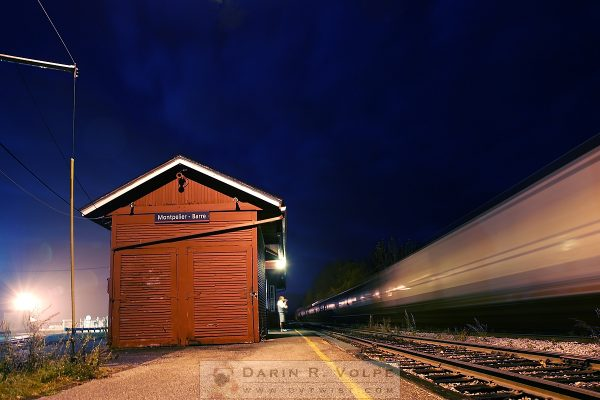 """Watching The Night Train"" [Montpelier Junction Vermont]"