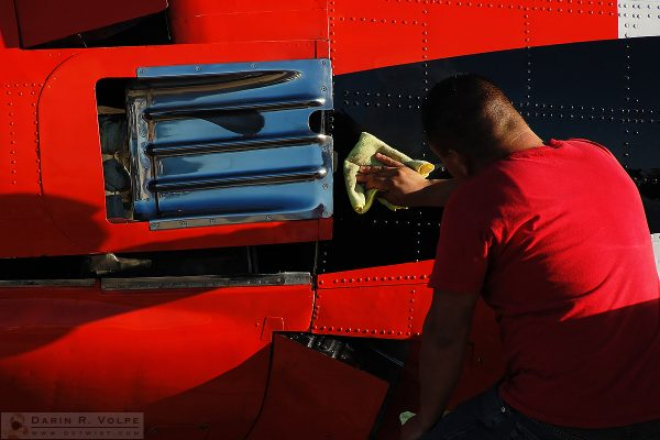"""Elbow Grease"" [Volunteer Polishing an Airplane in Paso Robles, California]"