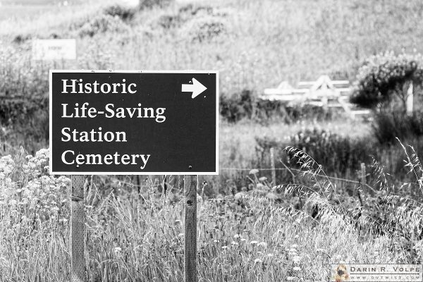 """Oxymoron?"" [Historic Life Saving Station Cemetery Sign in Point Reyes National Seashore, California]"
