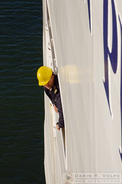 """The Man in the Yellow Helmet"" [ Officer on the Norwegian Pearl Cruise Ship in San Francisco]"