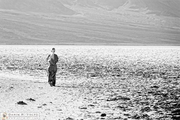 """""""Desert Vagrant"""" [Woman Walking on Badwater Basin in Death Valley National Park, California]"""