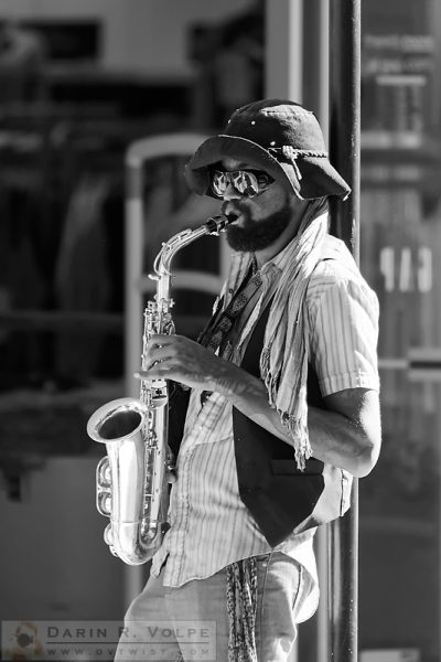 """My Future's So Bright I've Got to Wear Shades BW"" [Street Musician in San Luis Obispo, California]"