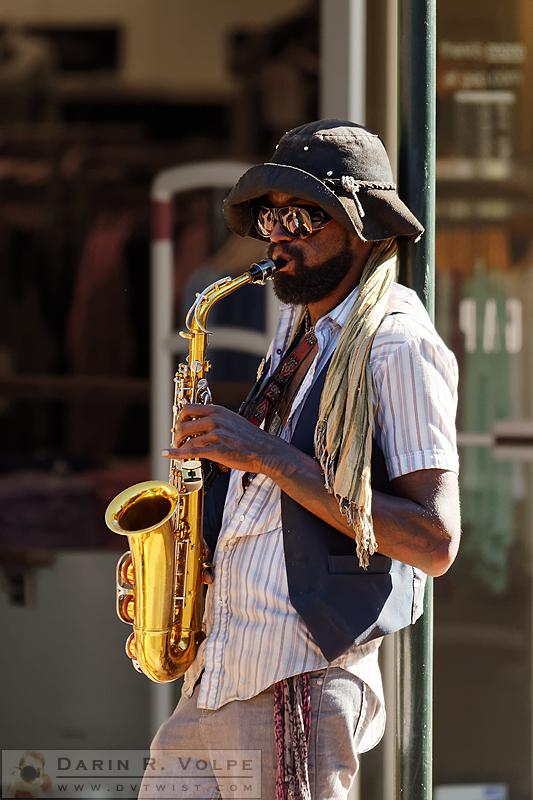 """My Future's So Bright I've Got to Wear Shades"" [Street Musician in San Luis Obispo, California]"