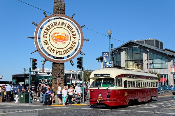 """A Streetcar Named Toronto"" [Streetcar Under Fisherman's Wharf Sign in San Francsico, California]"