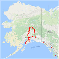 Alaska Map with GPS Track