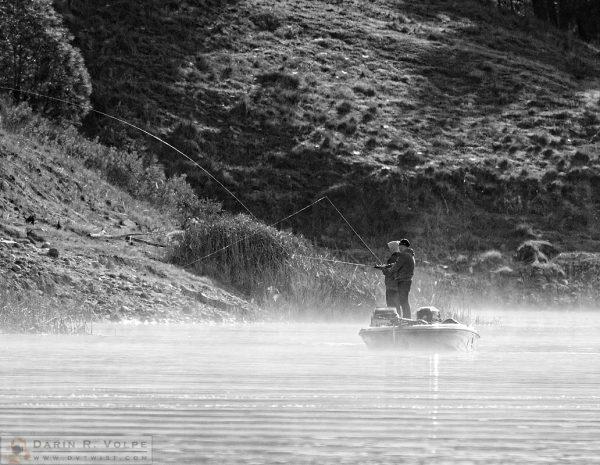 """A Foggy Morning on the Lake"" [Fishermen on a Boat on Santa Margarita Lake, California]"