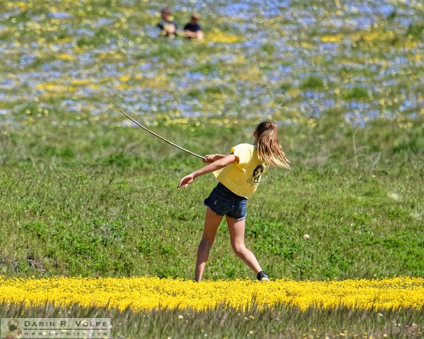 """A Swing and a Miss"" [Girl Playing in Flower Field in Santa Margarita, California]"