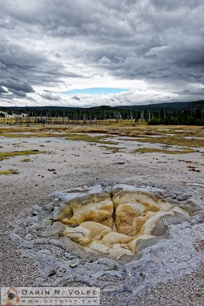 """Gateways to Heaven and Hell"" [Shell Geyser Under Stormy Skies in Yellowstone National Park, Wyoming]"