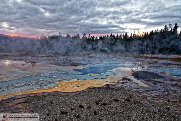 """Sunset at Geyser Hill"" [Doublet Pool in Yellowstone National Park, Wyoming]"