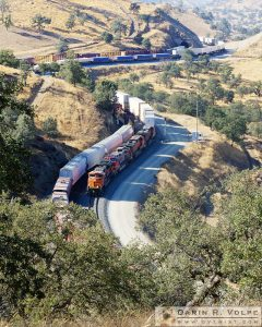 """Trains That Pass in the Day"" [Two Freight Trains in the Tehachapi Mountains, California]"