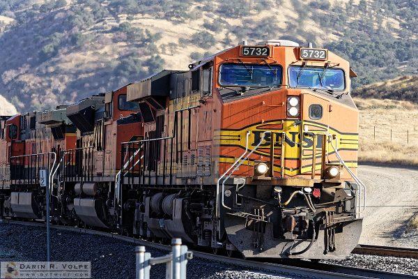 """Three Kinds of Pumpkin"" [BNSF Freight Locomotives in Bealville, California]"