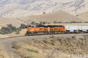 """Hotshot"" [BNSF ES44AC Locomotives and UPS Trailers in Keene, California]"