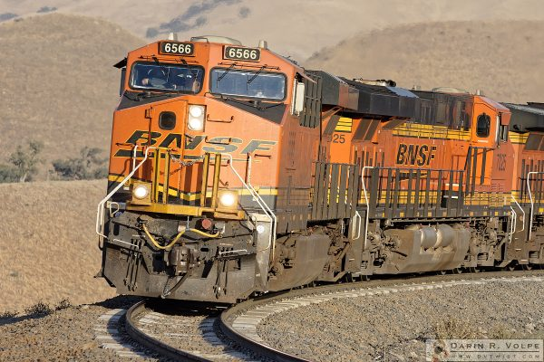 """Comin' 'Round the Bend"" [BNSF ES44C4 Locomotives in The Tehahapi Mountains, California]"
