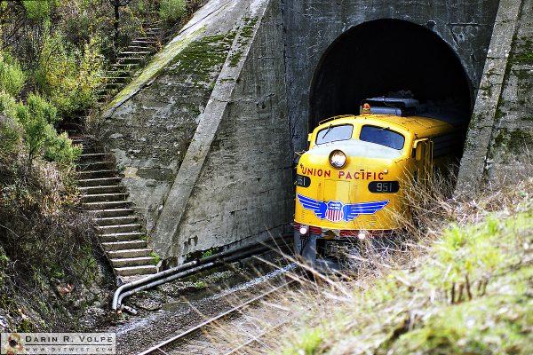 """""""Birth of a New Era"""" [Union Pacific E9 Locomotive on Cuesta Grade near Santa Margarita, California]"""