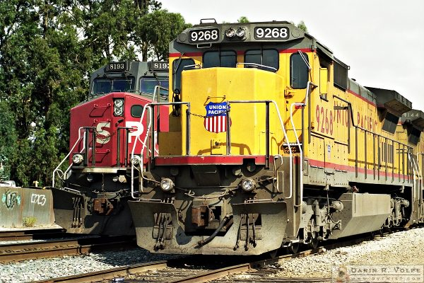 """""""End of an Era"""" [Southern Pacific and Union Pacific Locomotives in San Luis Obispo, California]"""