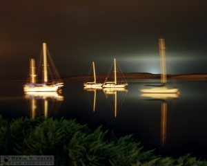 """Black Lagoon"" [Sailboats at Night in Morro Bay, California]"