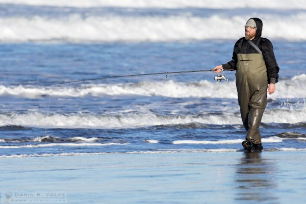 """The Pacific Angler In His Natural Habitat"" [Fisherman in Morro Bay, California]"