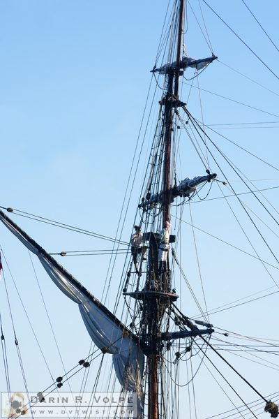 """Up in the Rigging"" [Crewmembers on the Lady Washington in Morro Bay, California]"