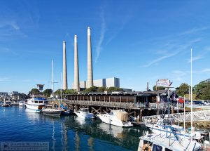 """Waterfront Dining"" [Restaurant, Boats, and Power Plant in Morro Bay, California]"